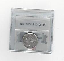 **1864**,New Brunswick Twenty Cent, Coin Mart Graded **EF-40**