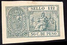 Spain Caribbean Colony 1898  Revenue Sello 11  -  50 c. de peso MLH OG