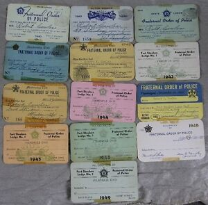 Lot of 13 1940's Fraternal Order of Police Card Robert Cowles Steubenville