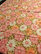 Vintage Monticello Full Flat Sheet Muslin 50/50 Huge Pink Orange Daisy Floral