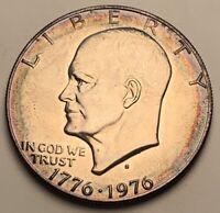 1976-S SILVER IKE DOLLAR EISENHOWER UNC BU COLOR TONED HIGH GRADE