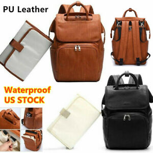 Brown Faux Leather PU Mummy Diaper Backpack Baby Nappy Travel Bag Changing Pad