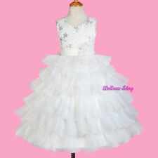 Ivory Soutache Rosettes Tiered Dress Wedding Flower Girl Pageant Size 3-10 FG299