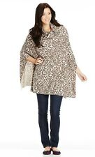 Lovely Ladies Leopard Black & Beige Poncho, Soft And Comfortable Fits Size 12-16