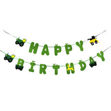 green tractor happy birthday banner garland for construction vehicle party decor