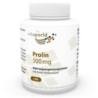 Vita World Prolin 500mg 100 Vegi Kapseln L-Prolin Made in Germany