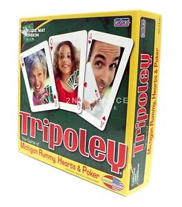 2009 Cadaco Tripoley Deluxe Mat Version The Game of Michigan Rummy Hearts Poker