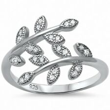 Leaf Ring Olive Tree Branch Bypass Wrap Round Pave CZ 925 Sterling Silver