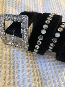 Black Vintage Suede Escada Belt Diamante Size 40