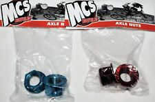 MCS Axle Nuts Blue or Red 26 tpi 14 mm for BMX Racing Single Speed Fixie Bike
