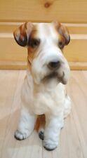 """Vintage Wire Haired Fox Terrier 7"""" Tall Figurine Japan Dog Ceramic Bisque Puppy"""