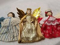 "LOT OF 3 BEAUTIFUL VINTAGE HANDMADE ANGEL ORNAMENTS CHRISTMAS TREE 6"" AND 7"""