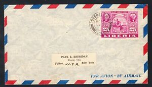 Liberia # C55 Cover to NY Stamp on Stamp Franklin Washington