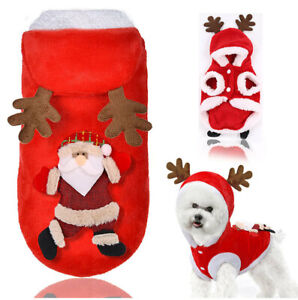 Pet Dog Cat Christmas Clothes Puppy Hoodie Coat Xmas Winter Warm Outfit Sweater