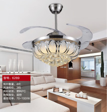 """42"""" Silver Crystal Fan Lamp LED Chandelier Remote Control Home Lighting Fixture"""