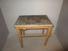 Vintage Solid Wood Frame Sitting Vanity Bench Footstool Fabric Seat Furniture