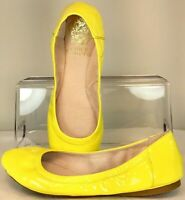 Vince Camuto Ellen Flat Women's Sz 5 M Yellow Patent Leather Slip On Ballet Shoe