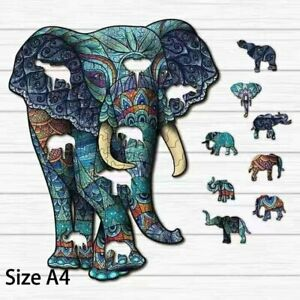 Wooden colorful animal Elephant Jigsaw puzzle for kids adults educational hobby