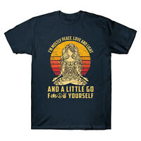 Yoga I'm Mostly Peace Love and Light and A Little Go Men T Shirt Cotton Tee Top