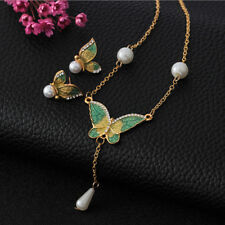 Wedding Butterfly Imitation Pearls Necklace Earrings Jewelry Set Hot Gift UK