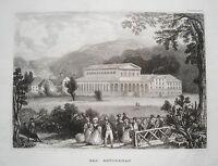 Bad Brückenau mit dem Kurhaus  Bayern seltener echter alter  Stahlstich 1838