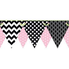 Wallpaper Border Pink Black White Lime Green Dot Chevron Geometric Pennant