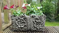 WOOD POT Hand Cast Stone Garden Ornament Flower Planter Basket ⧫onefold-uk