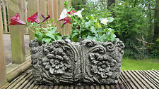 WOOD POT Hand Cast Stone Garden Ornament Flower Planter Basket ⧫onefold-uk