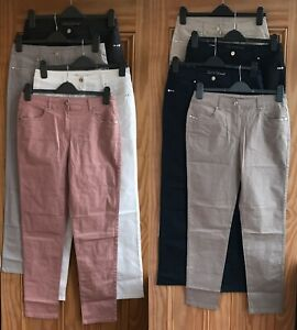 Ladies New Black White Grey Navy Blue Beige Brown Canvas Trousers Size 8-22
