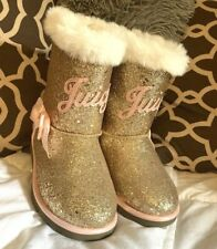 Girls Rose Gold JUICY Glitter Boots w/ Bow Sz 12 - NEW w/ Tag