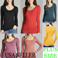 Women Long Sleeve ROUND Neck Tee Shirt T-Shirt Active Basic PLUS 1XL,2XL,3XL