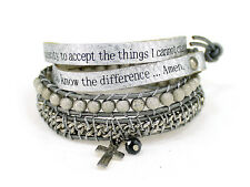 4031302 Serenity Prayer Leather Wrap Bracelet Woven Beads AA One Day At A Tim...