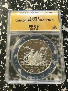 1989 Canada $1 Dollar MacKenzie ANACS PR69 Deep Cameo Lot#G236 Silver!