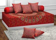 Indian Handmade Deewan Set Single Bedsheet Cushion Bolster Bedding Set 8 Pieces