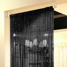 Black String Door Curtain Beads Room Divider Fringe Beaded Tassel Crystal Panel