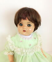 Vintage Antique Baby Girl Doll Composite Blink Eyes Open Mouth Teeth Green Dress