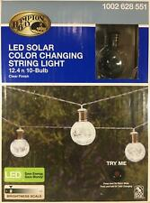 Hampton Bay Outdoor LED Solar String Lights Color Changing Crackle Glass Ball