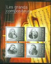 "NIGER 2013 ""GREAT COMPOSERS"" SHEET OF FOUR STAMPS HAYDN BACH SCHUMANN MOZART"