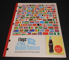 "Vintage Coca Cola Late 1960's School Tablet ""Flags of the United Nations"""