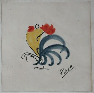 Drawing watercolor signed PICASSO