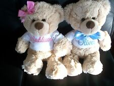 Personalised Teddy Bear  Any Name 26cm Baby Shower Gift Birthday  Pink or Blue