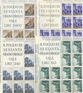 1961 S.MARINO VEDUTE   N. 4  BLOCCHI ANGOLARI x 12  cat. 551/4   MNH**