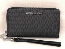 MICHAEL KORS FULTON PVC FLAT MULTIFUNCTION PHONE CASE MK WALLET WRISTLET BLACK