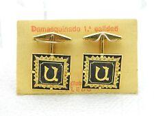Vintage Damascene Spain Toledo Cufflinks Cuff Links Black Gold Initial U or N