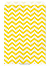 "100 Flat Merchandise Paper Bags: 6 x 9"", Yellow Chevron Stripes on White"