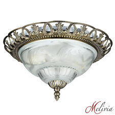 Ceiling Light Ø33 Glass Antique Brass E14 Overhead Hanging Lamp New