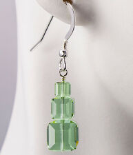 Cantaloupe Color Change Earrings Triple Cube Stack made with Swarovski Crystals
