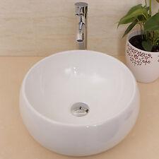 White Round Bathroom Ceramic Vessel Sink Bowl w/Chrome Faucet Drain Basin Combo