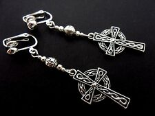 A PAIR OF TIBETAN SILVER CELTIC CROSS  DANGLY  CLIP ON EARRINGS. NEW.