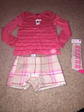 NWT GAP KIDS FAIREST ISLE SEQUIN SHIRT PLAID SHORTS KNEE SOCKS OUTFIT SET 6 7